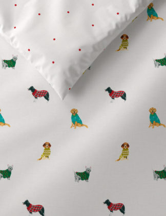 An Image of M&S Cotton Mix Dogs in Jumpers Bedding Set