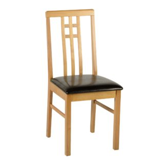 An Image of Vienna Dining Chair Brown PU Leather Natural/Brown