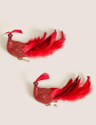 An Image of M&S 2pk Glitter Opulent Bird Tree Decorations