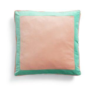 An Image of Habitat Velvet Block Patterned Cushion Cover - Peach