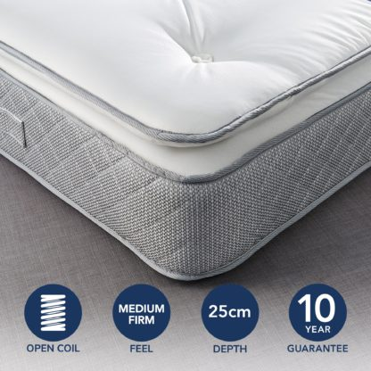 An Image of Fogarty Just Right Pillow Top Orthopaedic Open Coil Mattress White