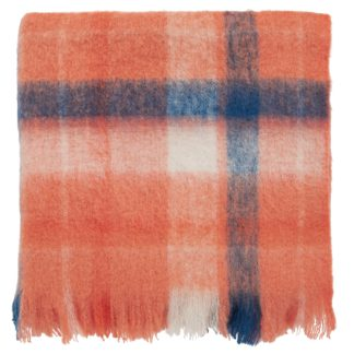 An Image of Joules Woodland Rust Woven Check Throw Rust