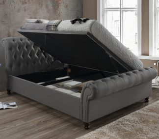 An Image of Castello Grey Fabric Ottoman Scroll Sleigh Bed - 5ft King Size