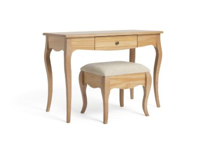 An Image of Habitat Margot 1 Drawer Dressing Table & Stool - Oak