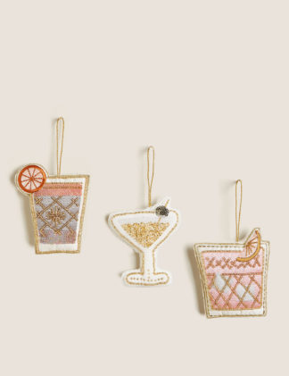 An Image of M&S 3 Pack Cocktail Appliqué Hanging Decorations