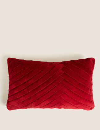 An Image of M&S Velvet Pleated Bolster Cushion